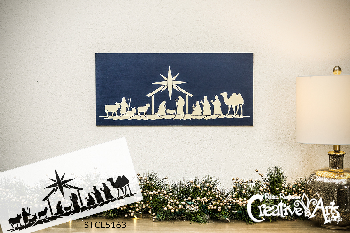 Nativity Christmas Scene Stencil by StudioR12 | DIY Bethlehem Wise Men Home Decor Gift | Craft & Paint Wood Sign Reusable Mylar Template | Select Size