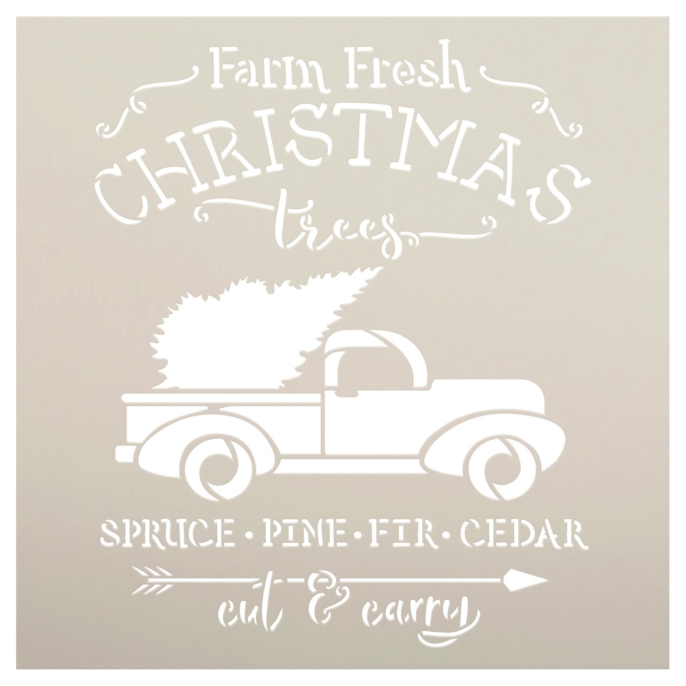 Farm Fresh Christmas Tree Cut & Carry Stencil by StudioR12   DIY Home Decor Gift   Craft & Paint Wood Sign   Reusable Mylar Template   Select Size