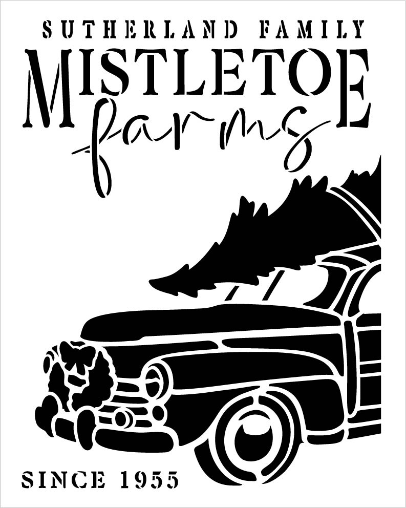 Family Mistletoe Farm Personalized 2-Part Stencil by StudioR12 | DIY Home Decor | Craft & Paint Wood Sign Reusable Mylar Template | 13.5 x 9.75 INCHES