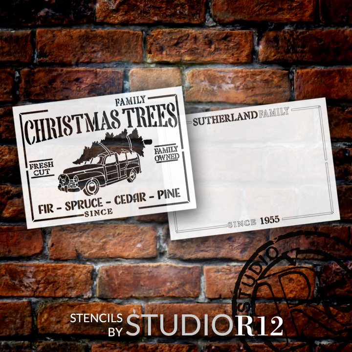 Family Christmas Trees Personalized 2-Part Stencil by StudioR12   DIY Home Decor   Craft & Paint Wood Sign   Reusable Mylar Template   18 x 13 INCHES