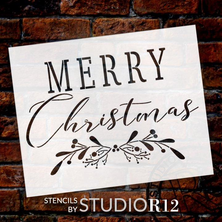 Merry Christmas Stencil by StudioR12 | DIY Cursive Script Mistletoe Home Decor Gift | Craft & Paint Wood Sign | Reusable Mylar Template | Select Size