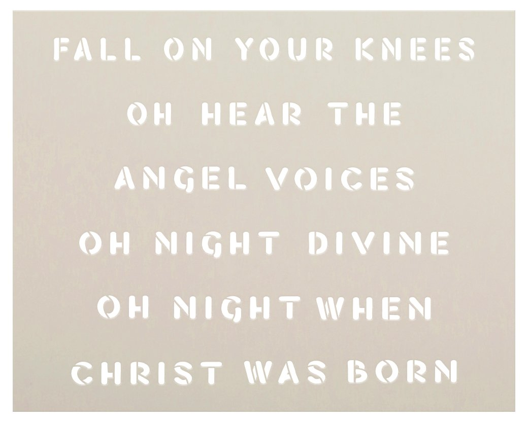 Night Divine - Christ was Born Stencil by StudioR12   DIY Winter Christmas Home Decor   Craft & Paint Wood Sign Reusable Mylar Template   Select Size