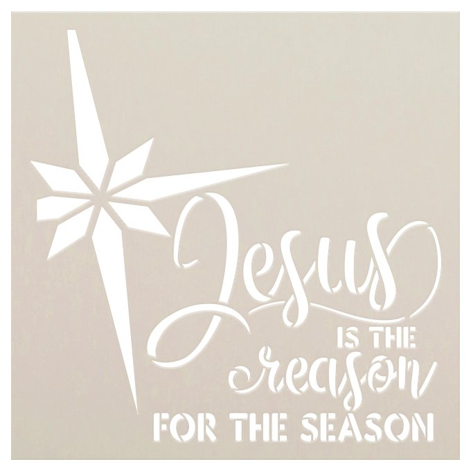 Jesus - Reason for Season Stencil by StudioR12 | DIY Winter Christmas Home Decor Gift | Craft & Paint Wood Sign Reusable Mylar Template | Select Size