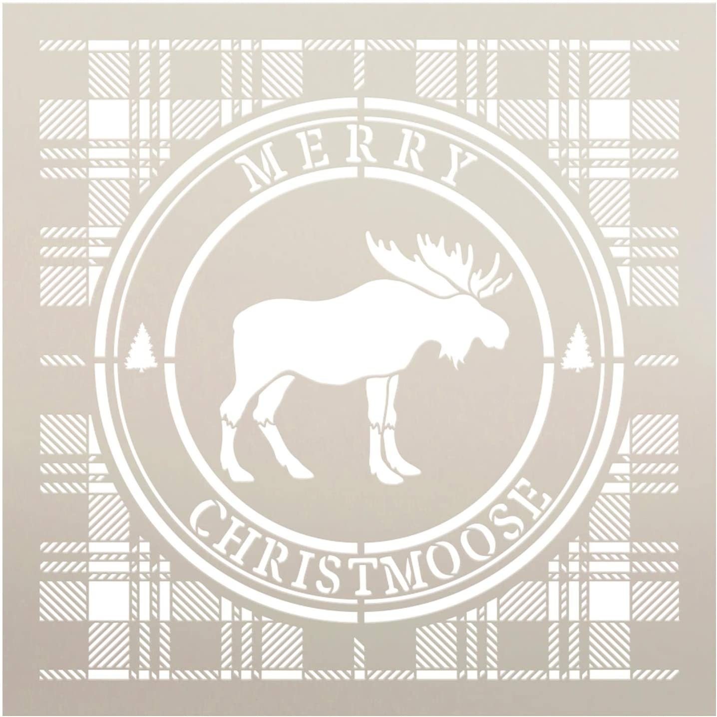 Merry Christmoose Stencil by StudioR12 | DIY Winter Plaid Pine Tree Home Decor Gift | Craft & Paint Wood Sign | Reusable Mylar Template | Select Size