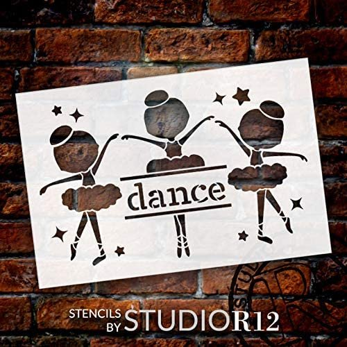 Dance Ballerina Silhouette Stencil by StudioR12   DIY Little Girl Star Home Decor Gift   Craft & Paint Wood Sign Reusable Mylar Template   Select Size