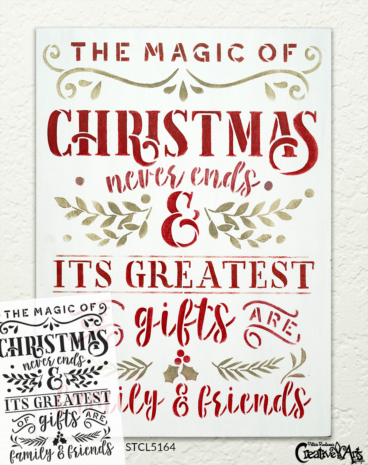 Magic Christmas Never Ends - Family & Friend Stencil by StudioR12 | DIY Home Decor Gift Craft & Paint Wood Sign | Reusable Mylar Template Select Size