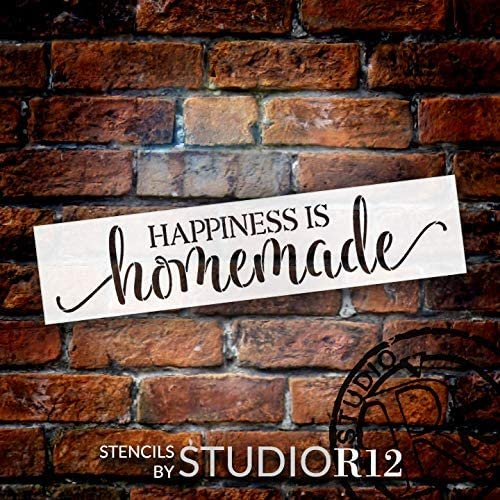 Happiness - Homemade Stencil by StudioR12 | DIY Inspiratioal Quote Kitchen Decor Gift | Craft & Paint Wood Sign Reusable Mylar Template | Select Size