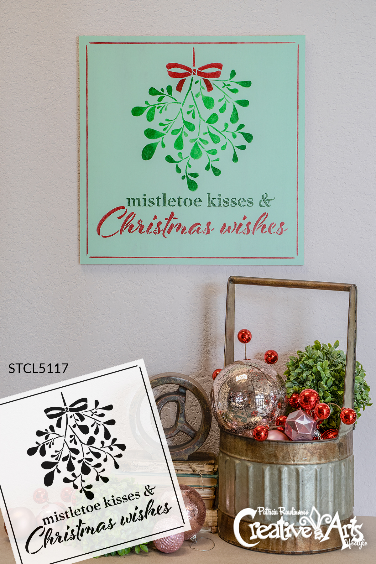 Mistletoe Kisses Christmas Wishes Stencil by StudioR12   DIY Holiday Home Decor Gift   Craft & Paint Wood Sign   Reusable Mylar Template   Select Size