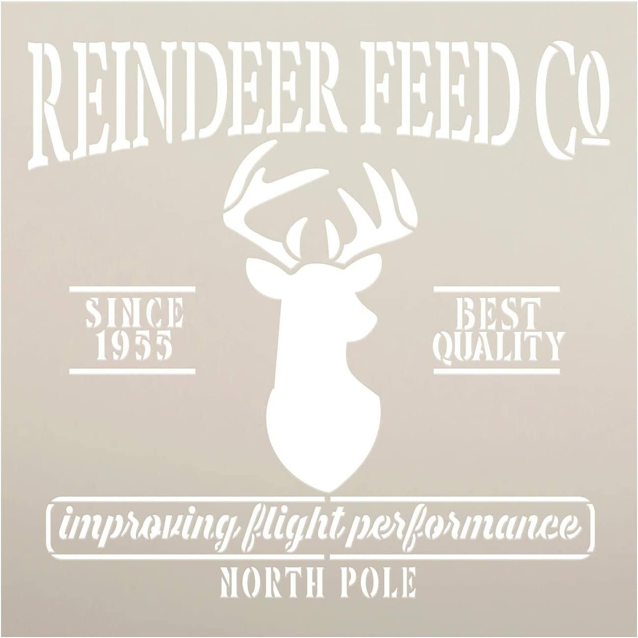 Reindeer Feed Co Stencil by StudioR12 | DIY Christmas North Pole Holiday Home Decor Gift | Craft Paint Wood Sign | Reusable Mylar Template Select Size