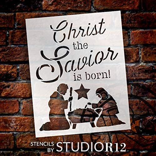 Christ The Savior is Born Stencil with Manger & Star by StudioR12 | DIY Faith Home Decor | Christmas Script Word Art | Select Size