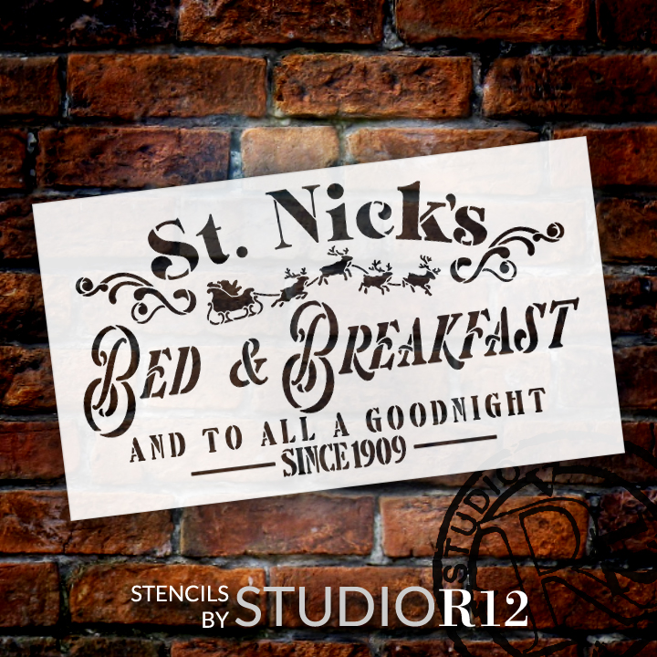 St Nick Bed & Breakfast All a Good Night Stencil by StudioR12   DIY Christmas Home Decor   Craft Paint Wood Sign Reusable Mylar Template   Select Size