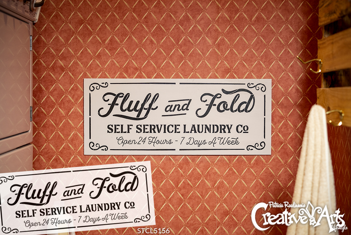Fluff Fold Self Service Laundry Co Stencil by StudioR12 | DIY Family Home Decor Gift | Craft & Paint Wood Sign | Reusable Mylar Template | Select Size