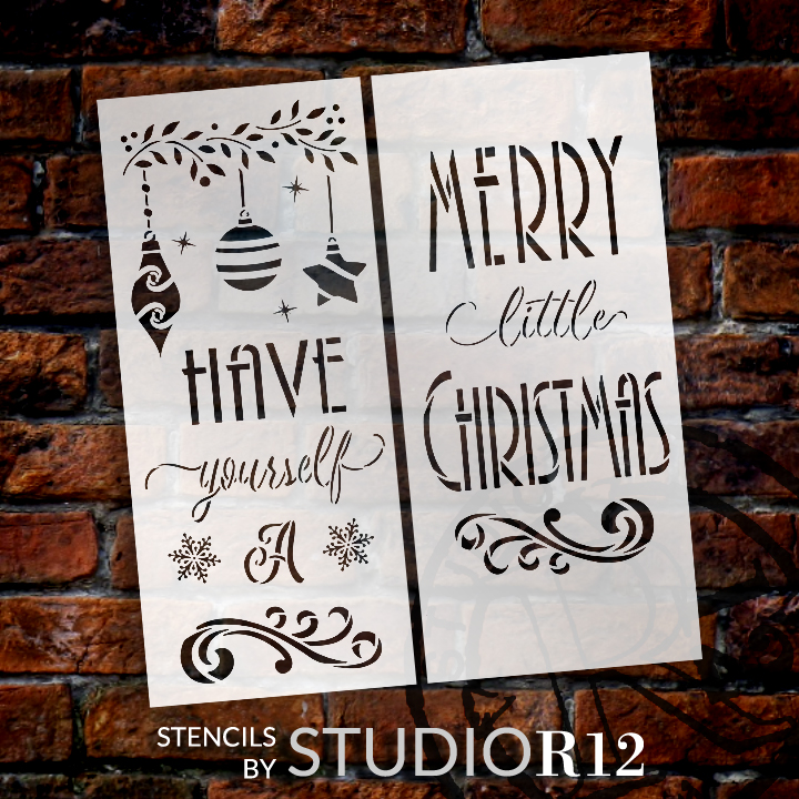 Have Yourself Merry Little Christmas 2-Part Stencil by StudioR12   DIY Home Decor Gift   Craft & Paint Wood Sign Reusable Mylar Template   1 x 4 FEET