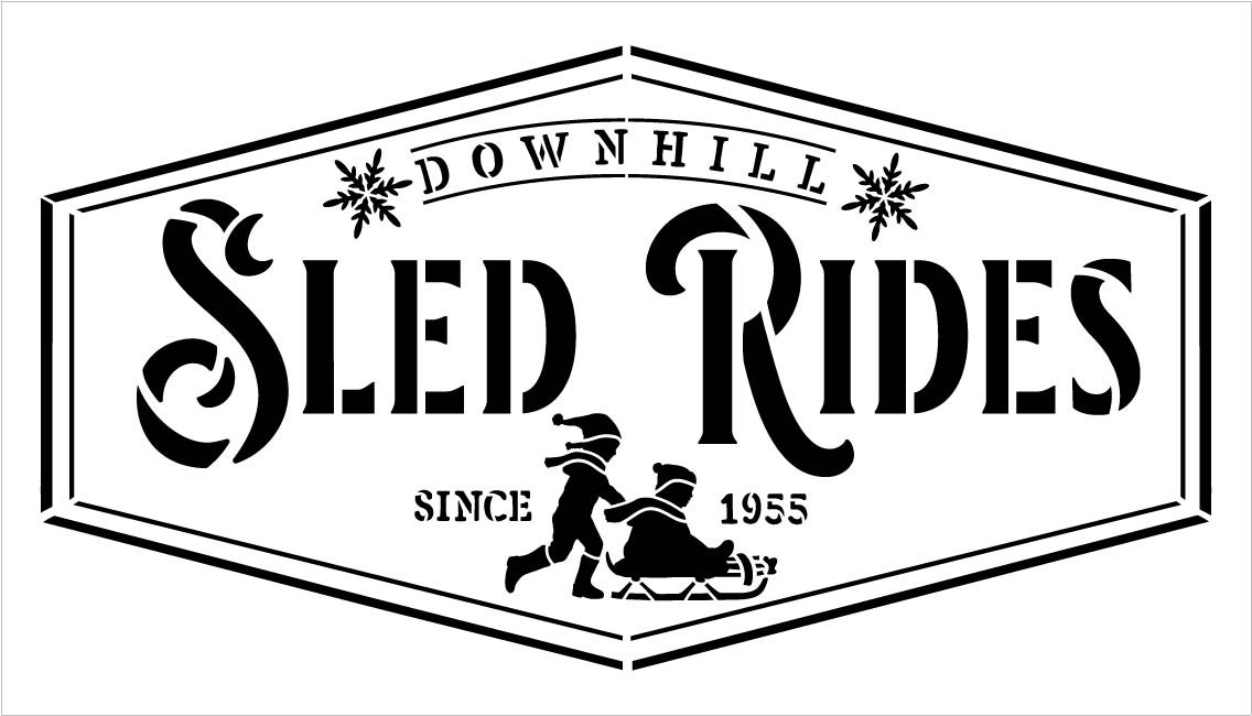 Downhill Sled Ride Since 1955 Stencil by StudioR12 | DIY Winter Christmas Home Decor | Craft & Paint Wood Sign | Reusable Mylar Template | Select Size