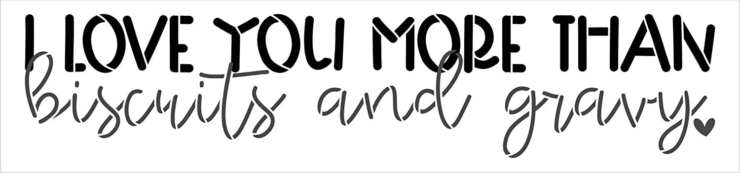 Love You More Than Biscuits & Gravy 2-Part Stencil by StudioR12 | DIY Country Kitchen Home Decor | Paint Wood Signs | Select Size
