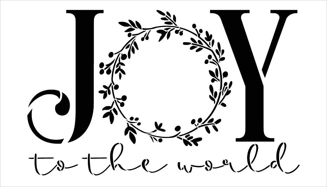 Joy to The World Stencil by StudioR12   DIY Christmas Mistletoe Wreath Home Decor Gift   Craft & Paint Wood Sign Reusable Mylar Template   Select Size