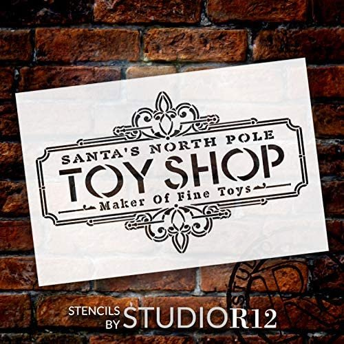 Santa North Pole Toy Shop Stencil by StudioR12   DIY Christmas Vintage Home Decor Gift   Craft & Paint Wood Sign Reusable Mylar Template   Select Size
