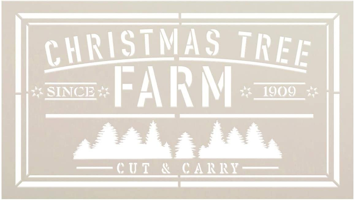 Christmas Tree Farm Since 1909 Cut & Carry Stencil by StudioR12   DIY Home Decor Gift   Craft & Paint Wood Sign Reusable Mylar Template   Select Size (26.25 inches x 15 inches)