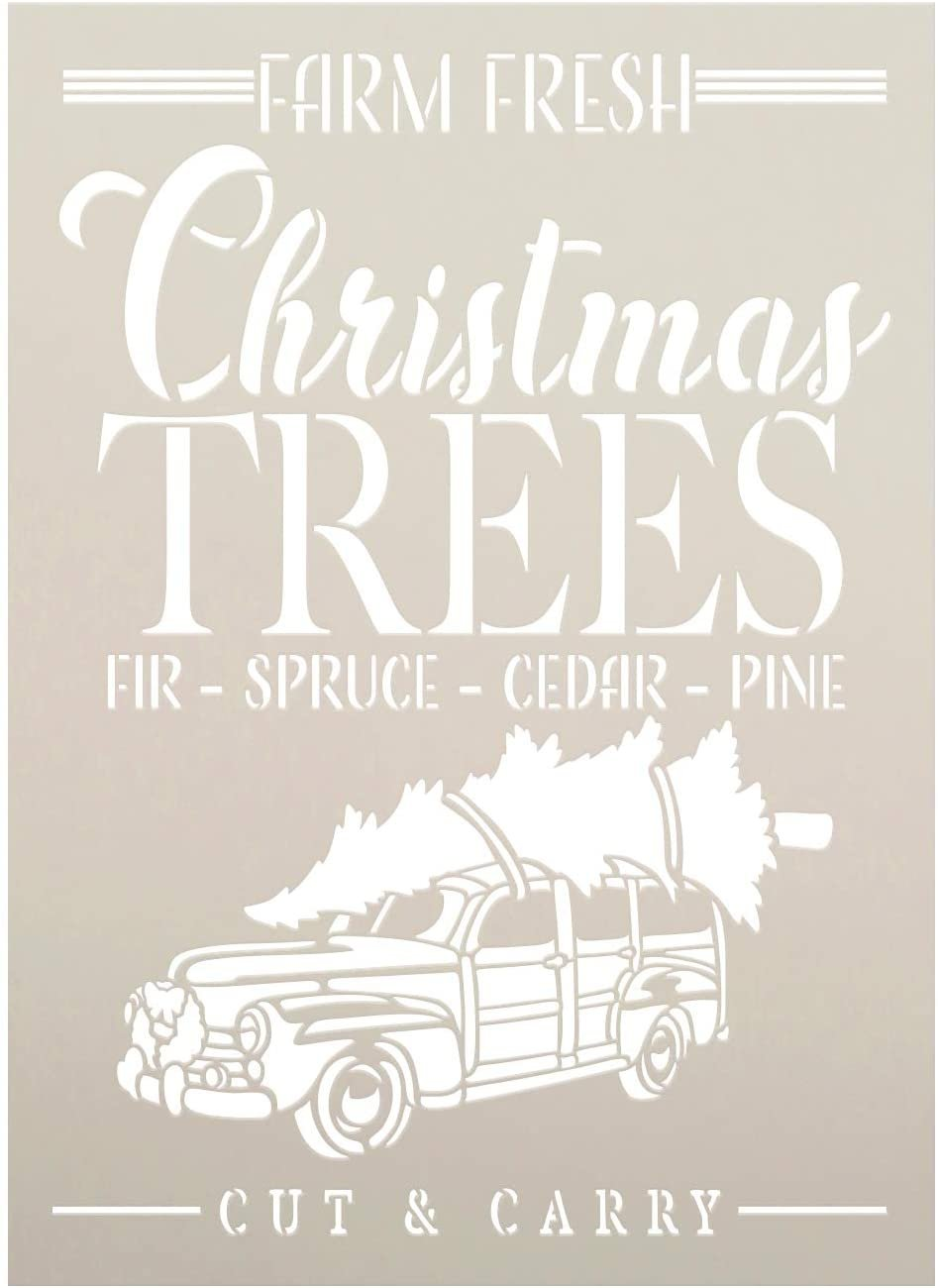 Christmas Trees Stencil with Truck by StudioR12   Farm Fresh Fir Spruce Cedar Pine   DIY Farmhouse Christmas Decor   Select Size
