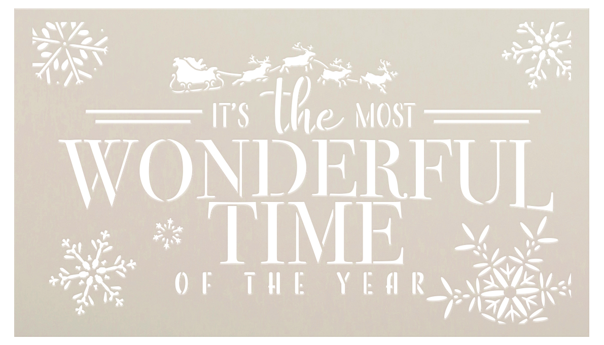 Most Wonderful Time of Year Stencil by StudioR12 | DIY Winter Snow Christmas Home Decor | Craft & Paint Wood Sign Reusable Mylar Template Select Size
