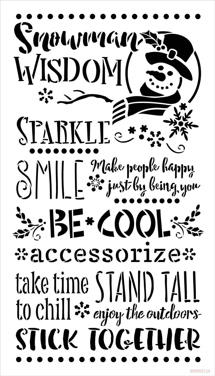 Snowman Wisdom Stencil with Snowflakes by StudioR12 | DIY Winter Holiday Home Decor | Craft & Paint Wood Signs | Select Size