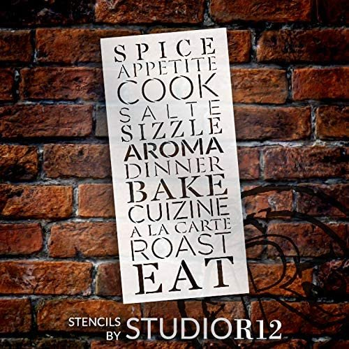 Kitchen Word - Spice Cook Bake Eat Stencil by StudioR12   DIY Dining Room Home Decor   Craft & Paint Wood Sign   Reusable Mylar Template   Select Size