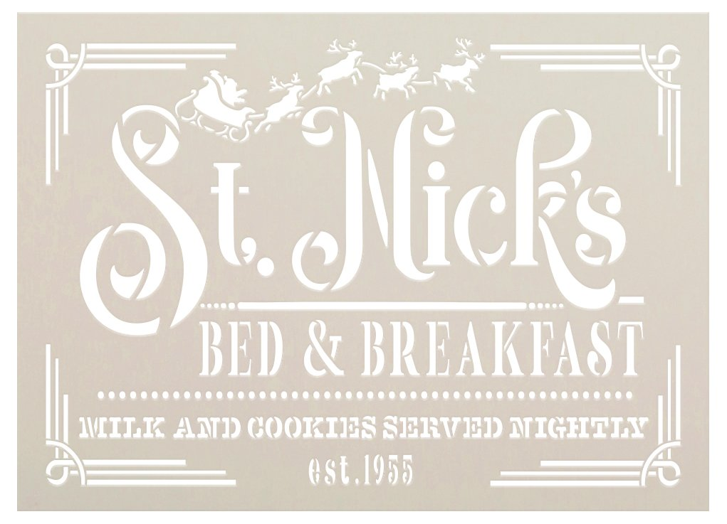 St Nick Bed & Breakfast Stencil by StudioR12 | DIY Christmas Holiday Santa Home Decor | Craft Paint Wood Sign | Reusable Mylar Template | Select Size