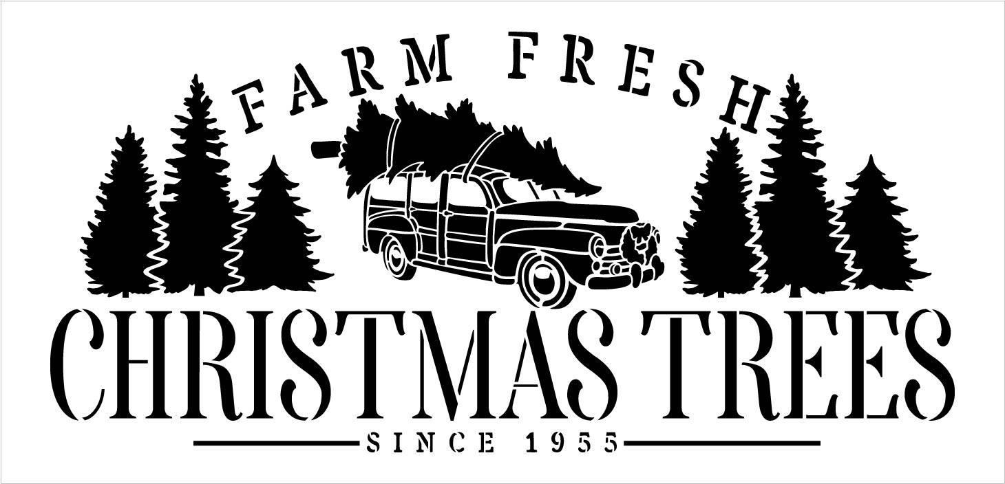 Farm Fresh Christmas Trees Since 1955 Stencil by StudioR12 | DIY Holiday Home Decor Gift | Craft & Paint Wood Sign Reusable Mylar Template Select Size (20.25 inches x 9.75 inches)