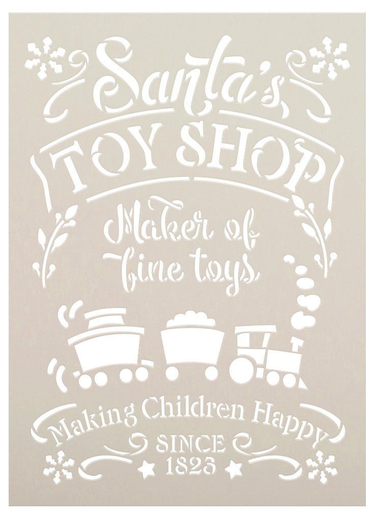 Santa Toy Shop 1823 Stencil by StudioR12 | DIY Happy Children Christmas Home Decor | Craft & Paint Wood Sign | Reusable Mylar Template | Select Size