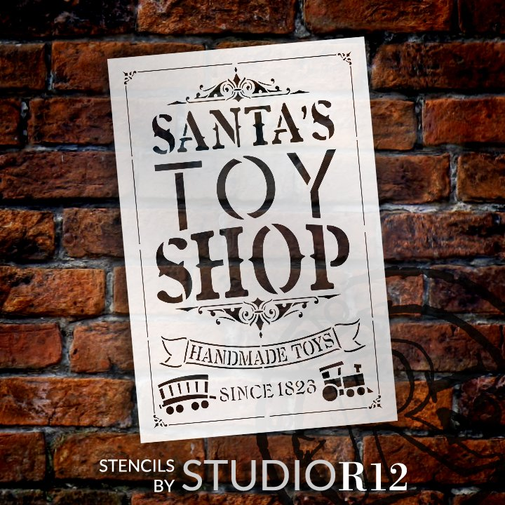 Santas Toy Shop Stencil by StudioR12   DIY Vintage Christmas Holiday Train Home Decor   Craft & Paint Wood Sign Reusable Mylar Template   Select Size