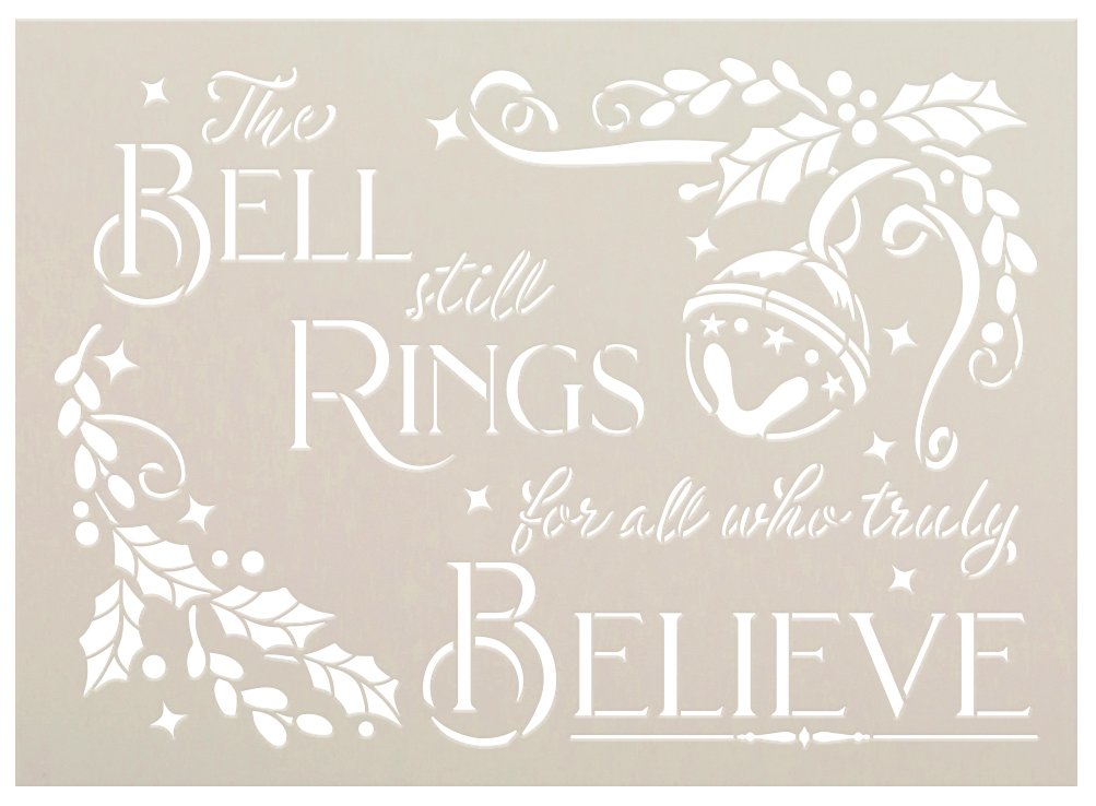 Bells Ring - All Who Believe Stencil by StudioR12 | DIY Winter Christmas Home Decor | Craft & Paint Wood Sign | Reusable Mylar Template | Select Size