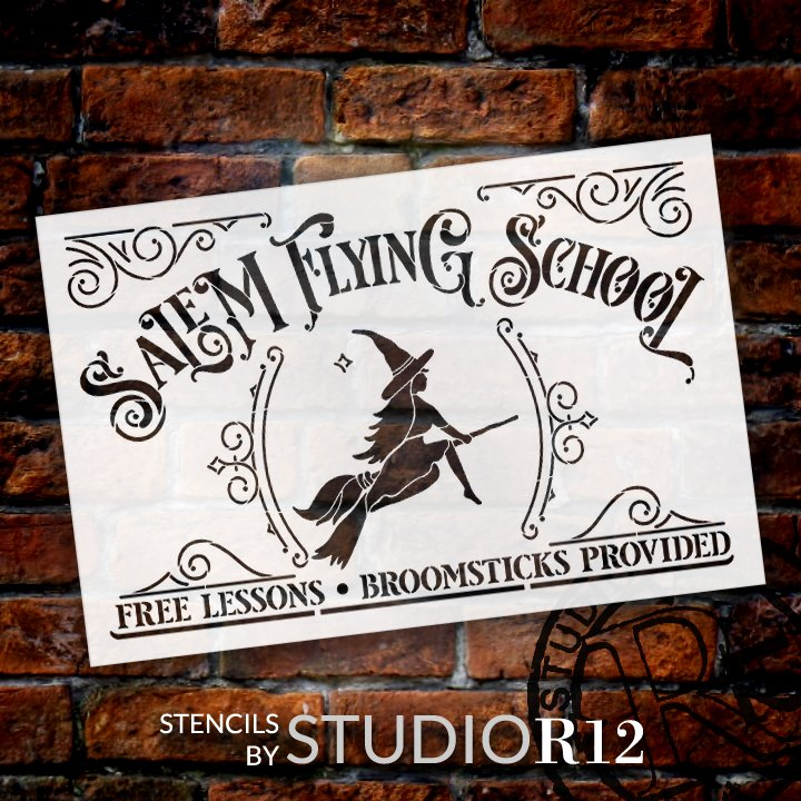 Salem Flying School -Stencil by StudioR12 | DIY Witch Broomstick HalloweenHome Decor | Craft & Paint Wood Sign | Reusable Mylar Template | Select Size