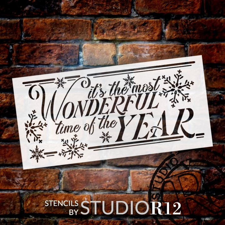 Most Wonderful Time Stencil by StudioR12   DIY Christmas Holiday Snowflake Home Decor   Craft & Paint Wood Sign Reusable Mylar Template   Select Size