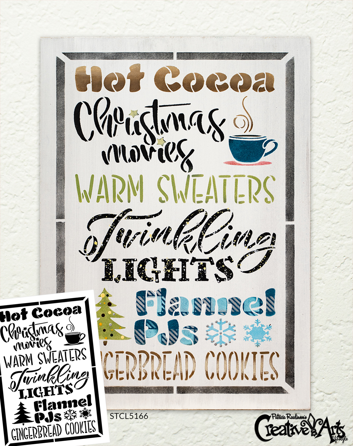 Hot Cocoa Christmas Movie Warm Sweater Stencil by StudioR12   DIY Holiday Home Decor   Craft & Paint Wood Sign   Reusable Mylar Template   Select Size
