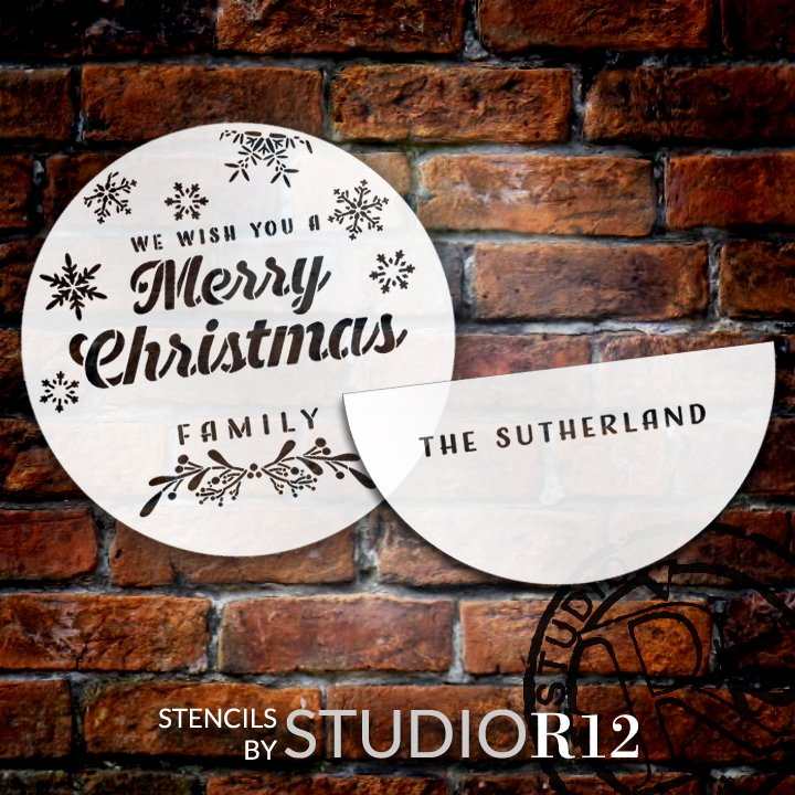 Wish You a Merry Christmas Personalized Stencil by StudioR12   DIY Home Decor   Craft & Paint Wood Sign   Reusable Mylar Template   (18 x 18 INCHES)