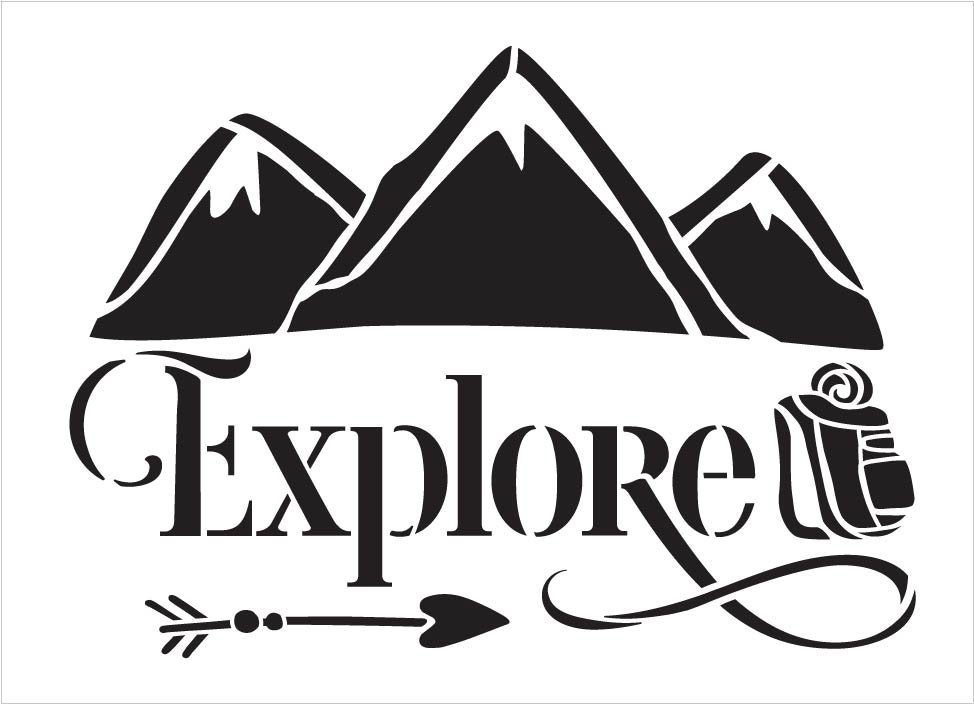 Explore Stencil with Mountain by StudioR12   DIY Cabin Outdoor Home Decor   Craft & Paint Summer Adventure Wood Sign   Select Size