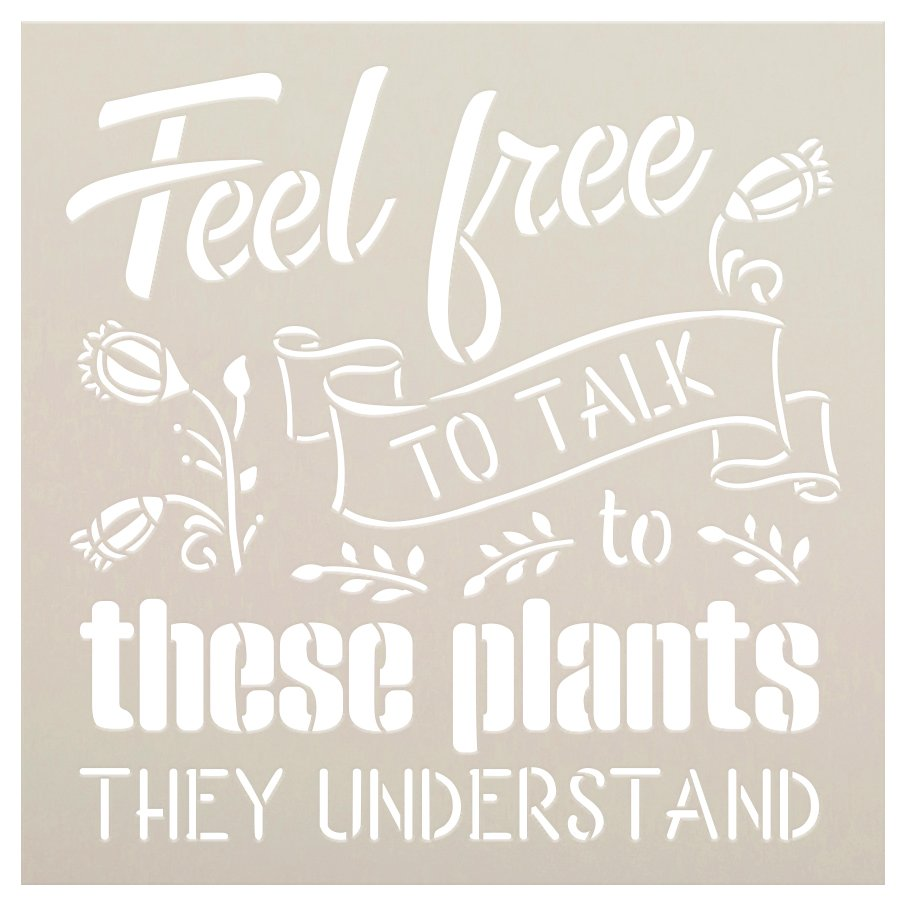 Talk to Plants - They Understand Stencil by StudioR12   DIY Flower Garden Home Decor   Craft & Paint Wood Sign   Reusable Mylar Template   Select Size