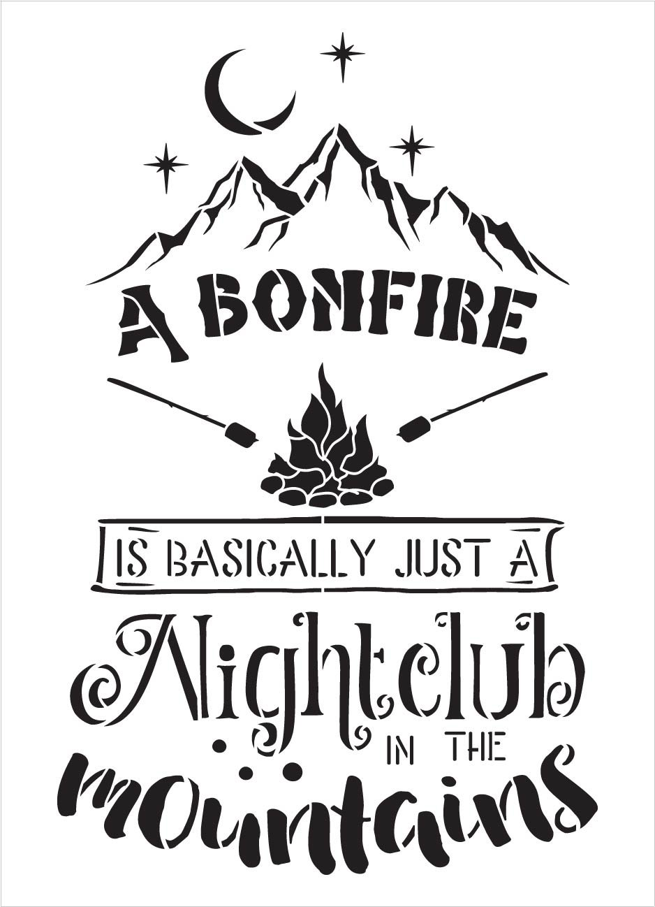 Bonfire Night Club Stencil with Mountains by StudioR12 | DIY Camping & Cabin Home Decor | Craft Adventure Wood Signs | Select Size