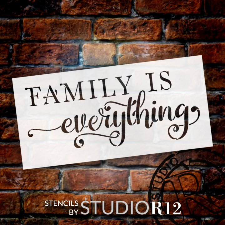 Family is Everything Stencil by StudioR12   DIY Cursive Script Farmhouse Home Decor   Craft & Paint Wood Signs   Select Size
