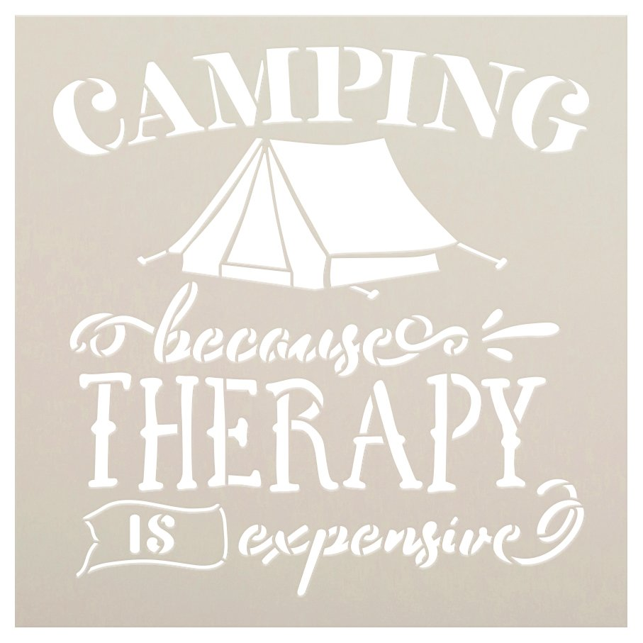 Camping Because Therapy is Expensive Stencil with Tent by StudioR12 | DIY Outdoor Adventure Home Decor | Craft Wood Signs | Select Size