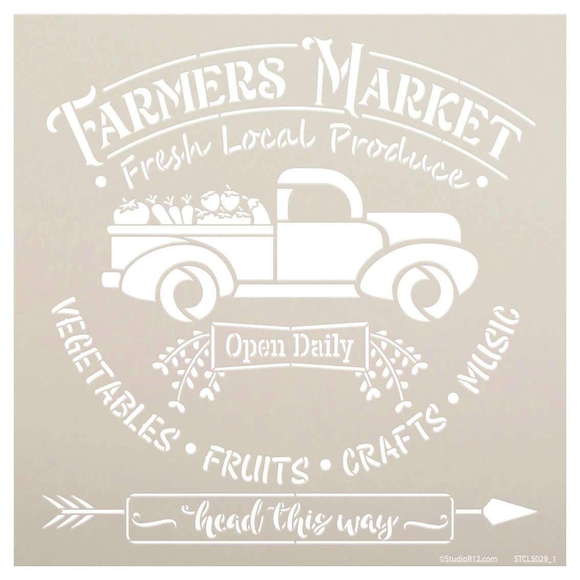 Farmers Market Stencil with Vintage Truck by StudioR12 | DIY Farmhouse Kitchen Home Decor | Open Daily | Paint Wood Sign | Select Size