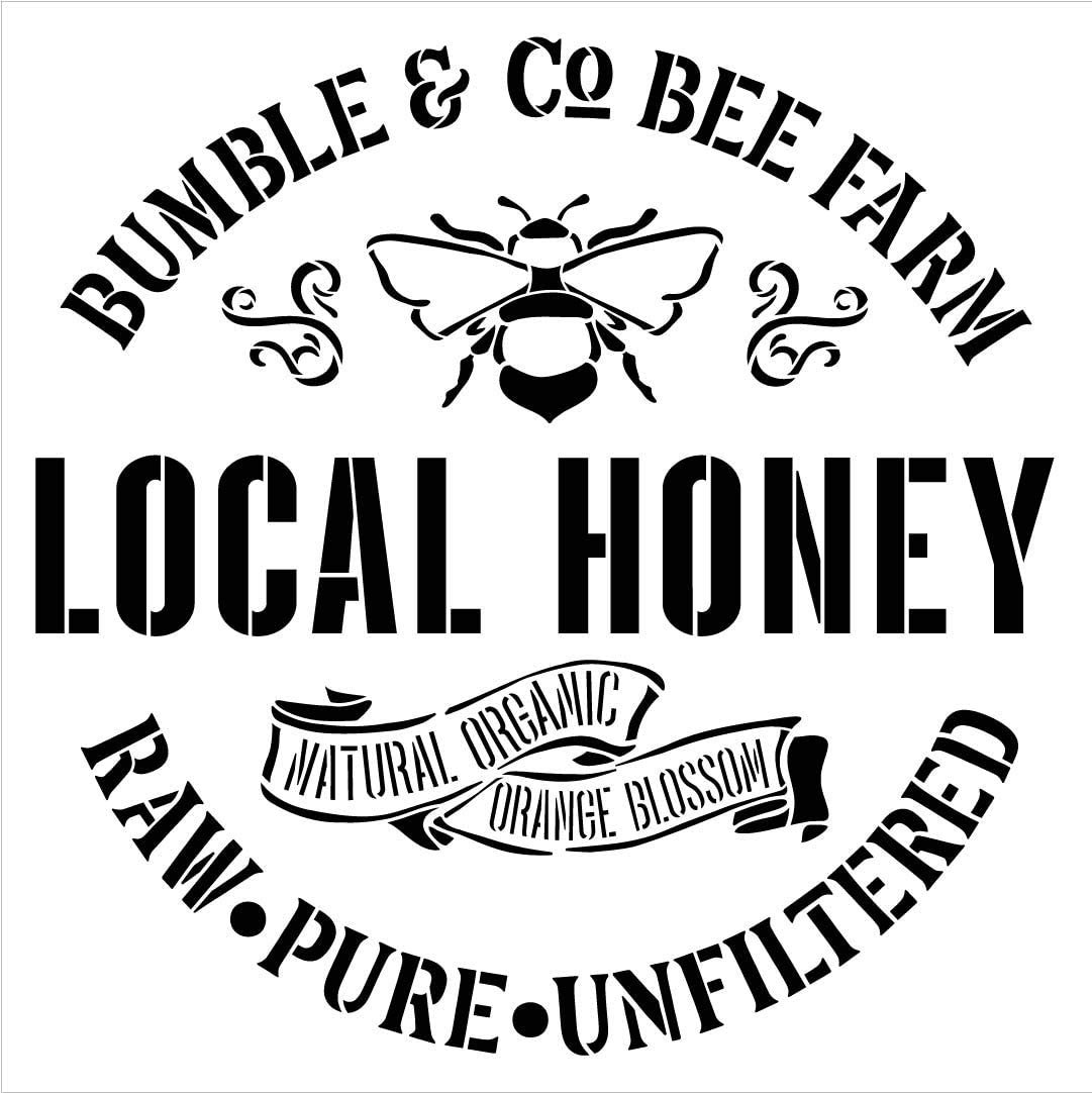 Bumble & Co Local Honey Stencil with Bee by StudioR12 | DIY Rustic Farm Home Decor | Craft & Paint Farmhouse Wood Signs | Select Size