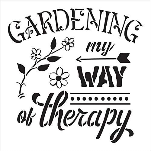 Gardening - My Way of Therapy Stencil by StudioR12   DIY Flower Arrow Home Decor   Craft & Paint Wood Sign   Reusable Mylar Template   Select Size