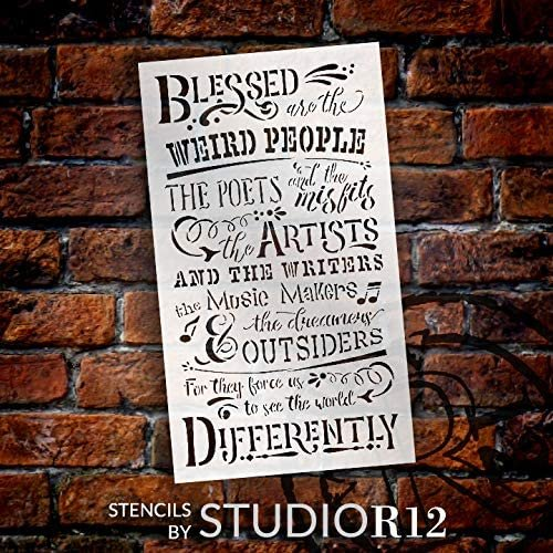 Blessed are The Weird People Stencil by StudioR12 | DIY Quote Home Decor | Inspirational Word Art for Artists | Select Size