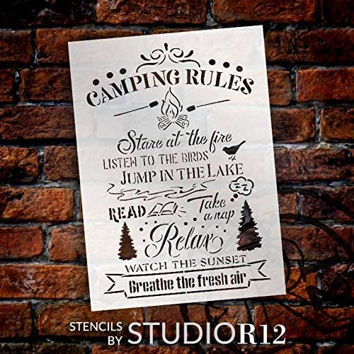 Camping Rules Stencil with Trees by StudioR12   DIY Camper & Cabin Decor   Craft & Paint Sumer Outdoor Wood Signs   Select Size