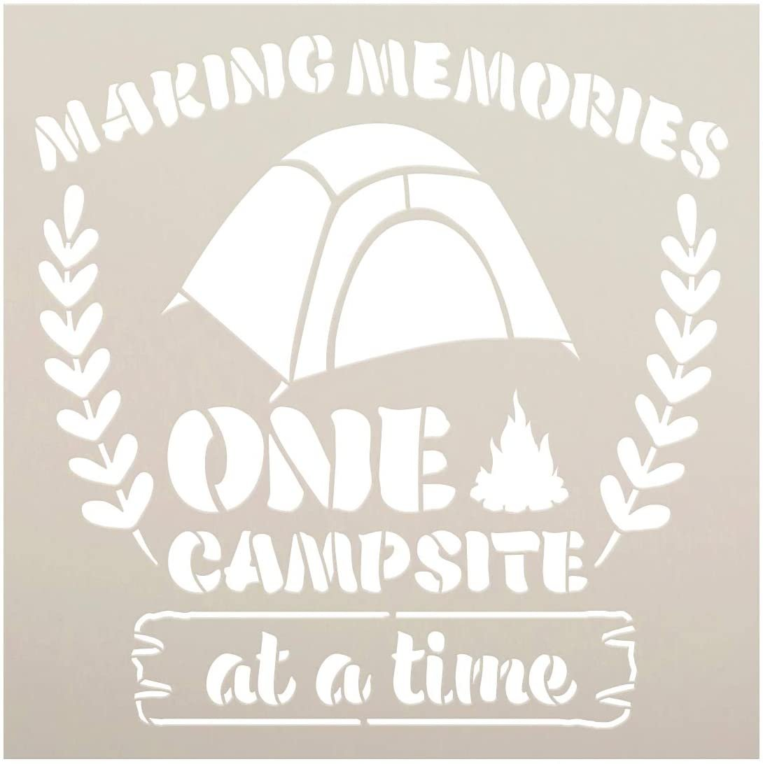 Making Memories One Campsite at A Time Stencil by StudioR12   DIY Family Camping Home Decor   Craft & Paint Wood Signs   Select Size