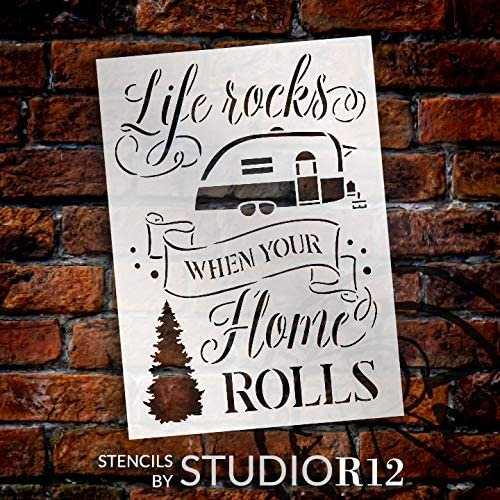Life Rocks When Your Home Rolls Stencil by StudioR12 | DIY Outdoor Adventure Camper Home Decor | Paint Wood Signs | Select Size
