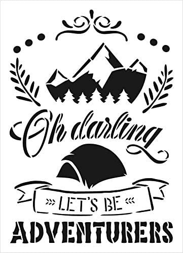 Let's Be Adventurers Stencil with Tent by StudioR12 | DIY Camp Home Decor | Adventure Word Art | Paint Wood Signs | Select Size
