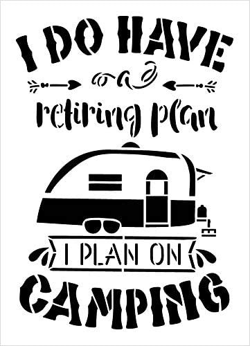 Retiring Plan is Camping Stencil with Camper by StudioR12   DIY Travel & Adventure Home Decor   Paint Wood Signs   Select Size