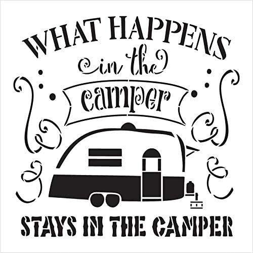 What Happens in The Camper Stencil by StudioR12 | DIY Camping Adventure Outdoor Home Decor | Craft & Paint Wood Signs | Select Size